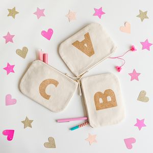 Canvas Glitter Initial Pouch - weddings sale