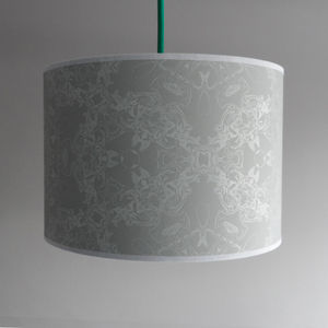Dove Grey And White Detail Design Lampshade
