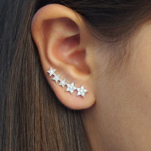 Curved Star Ear Cuff Earrings - earrings