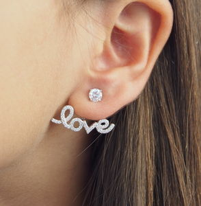 Silver Love Script Ear Jacket Earrings