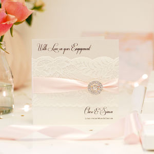 Lace And Crystal Personalised Engagement Card - engagement cards
