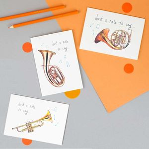 'Just A Note To Say' Illustrated Instruments Card - all purpose cards
