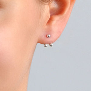 Sterling Silver Two Way Stud Earings - earrings