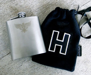Stylish Hip Flask In Personalised Gift Bag - stocking fillers under £15