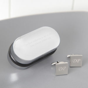 Personalised Square Silver Cufflinks And Box - gifts under £25