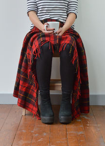 Classic Wool Knee Blanket In Wallace Tartan - throws, blankets & fabric