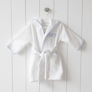 Personalised Blue Stripe Trim Dressing Gown