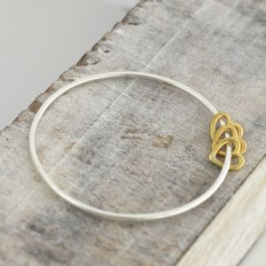 9ct Gold Heart Bangle - women's jewellery