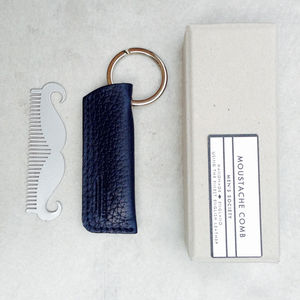 'Moustache' Comb Keyring In Leather Case - gifts for him