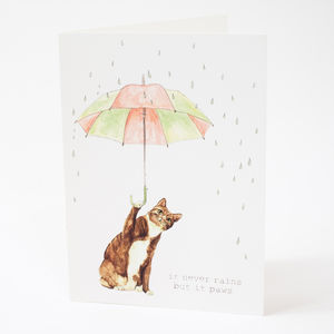 'Never Rains But It Paws' Card