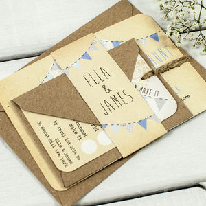 Blue Ombre Bunting And Lace Wedding Invitation Bundle - invitations
