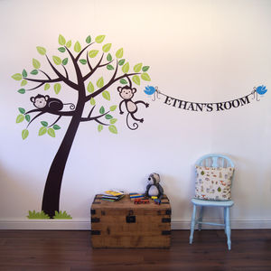 Personalised Monkey Tree Wall Stickers - decorative accessories