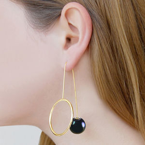Dark Pearl Gold Drop Galaxy Statement Earrings - threader earrings