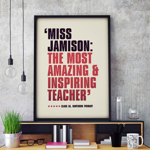 Personalised Best Teacher Theatre Review Poster Print