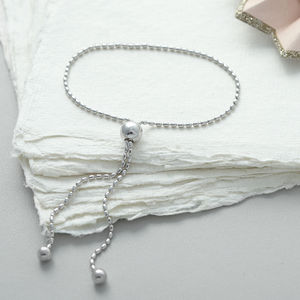 Sterling Silver Bead Slider Friendship Bracelet - women's jewellery