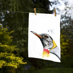 Inky Penguin Tea Towel