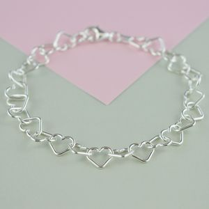 Sterling Silver Heart Bracelet - wedding fashion