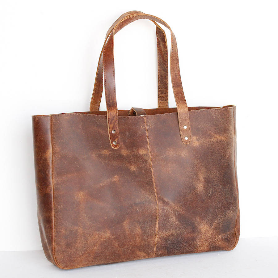 leather shopper tote weekender bag by scaramanga ...