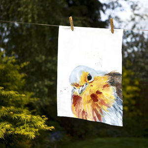 Inky Robin Tea Towel