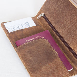 Leather Travel And Currency Wallet - passport & travel card holders