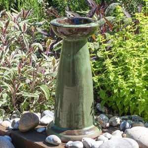 Glazed Terracotta Green Bird Bath Stand - birds & wildlife