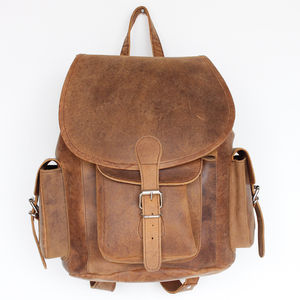 Vintage Style Leather Backpack - backpacks