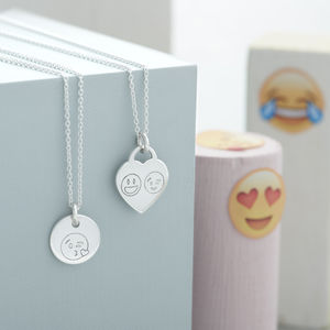 Personalised Sterling Silver Emoji Necklace - children's jewellery