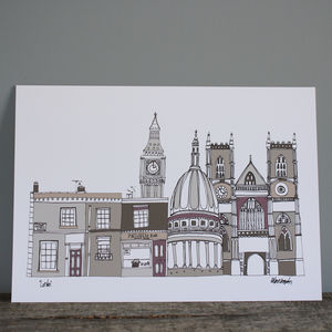 London Buildings Skyline Illustration Print