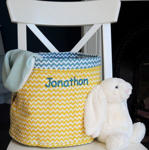 Personalised Cotton Chevron Print Storage Tub - storage bags