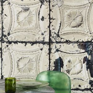 Brooklyn Metal Tins Wallpaper By Merci - office & study