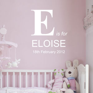 Personalised Birth And Name Wall Sticker - new baby gifts