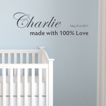 Personalised Made With Love Wall Sticker