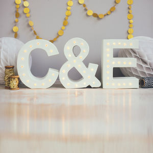 Handmade Couples Initials Letter Lights - on trend: yellow & grey