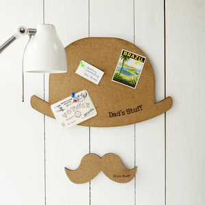 Hat And Moustache Personalised Cork Pinboard