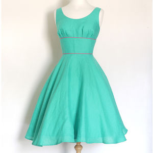 Vintage Style Linen Dress With Circle Skirt - dresses