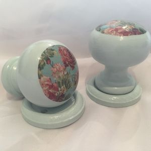 Floral Mortice Door Knob Pair