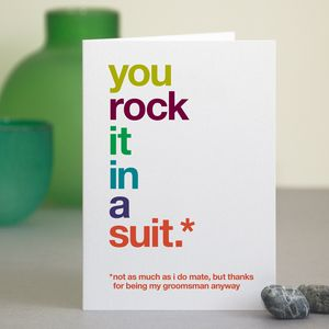 Funny Groomsman Thank You Card - wedding cards & wrap