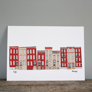 New York Brooklyn Town Houses Print - drawings & illustrations