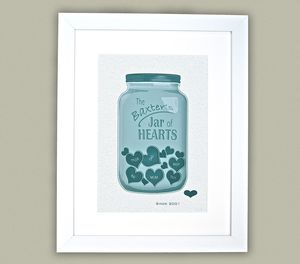 Personalised 'Jar Of Hearts' Art Print