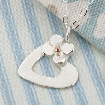 Personalised Porthleven Silver Heart And Flower Pendant