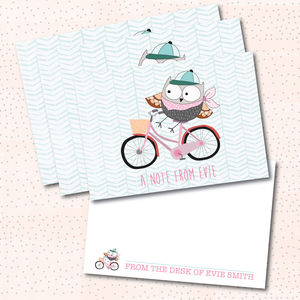 'Owl On A Bicycle' Personalised Notecard Set