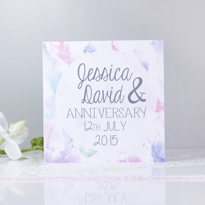 Personalised 'Anniversary' Watercolour Card - anniversary cards