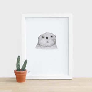 Curious Otter Animal Print - drawings & illustrations