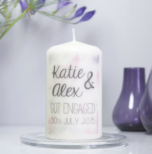 Personalised 'Engagement' Watercolour Candle - candles & candlesticks