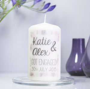 Personalised 'Engagement' Floral Patterned Candle