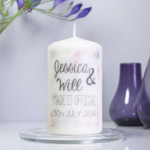 Personalised 'Made It Official' Wedding Candle - candles & home fragrance