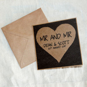 Personalised Same Sex Wedding Card For Gay Couple