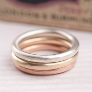 Solid Gold Halo Stacking Ring Set - rings
