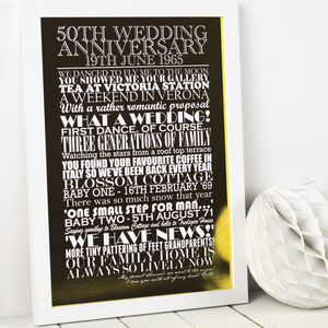 Personalised 'Fiftieth Wedding Anniversary' Art Print - 50th anniversary: gold