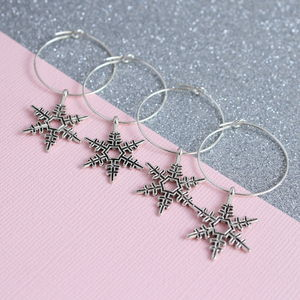 Set Of Four Snowflake Wine Glass Charms